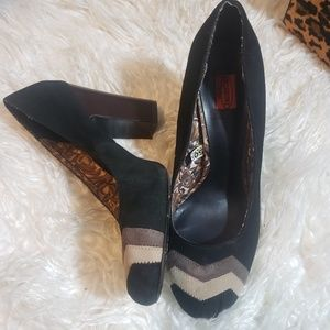 MISSONI FOR TARGET CHEVRON SUEDE HEELS WOOD  8